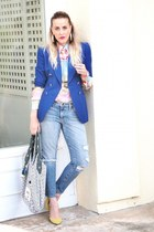 white rachel rachel roy bag - light blue Joes Jeans jeans - blue thrifted blazer