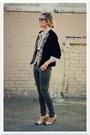 Eggshell-vintage-blouse-black-vintage-jacket-olive-green-forever-21-pants-