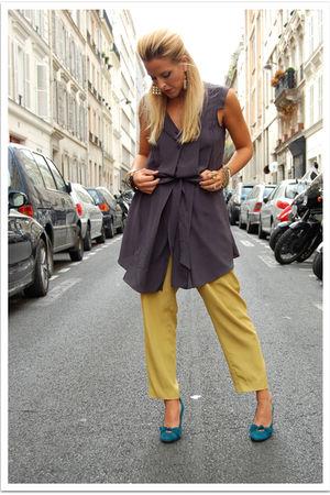 green vintage pants - blue vintage shoes - gray Quiksilver Women dress