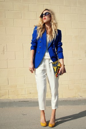 blue thrifted blazer - yellow Pink Clouds bag - white thrifted pants