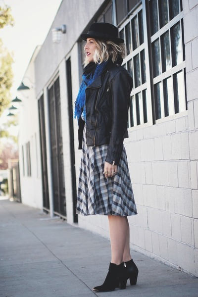 black just fab boots - black thrifted vintage jacket - navy thrifted scarf