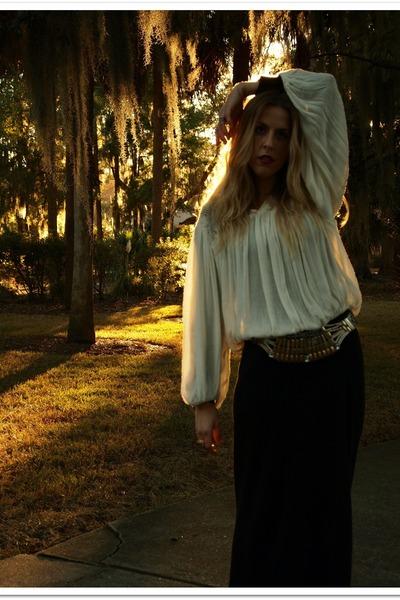 black thrifted dress - white thrifted shirt - bronze thrifted belt