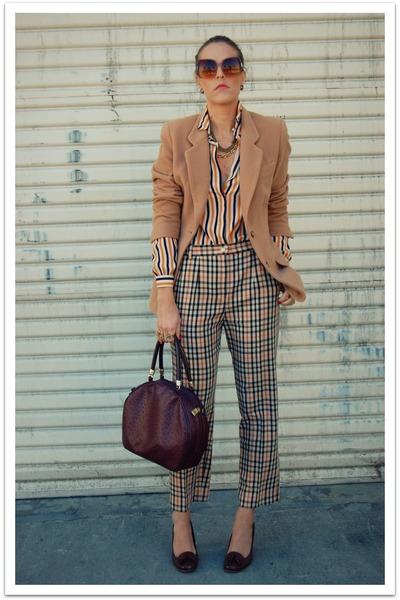 thrifted vintage blouse - thrifted pants - camel Vintage Liz Claiborne blazer -