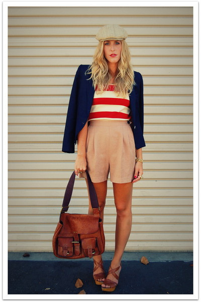 blue vintage jacket - red Ralph Lauren shirt - brown vintage shorts - brown vint