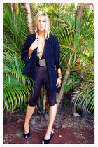 gold jumpsuit Jennafer Grace Clothing dress - black kimono vintage jacket