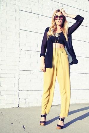 rachel rachel roy blazer - vintage top - thrifted vintage pants - Nine West sand