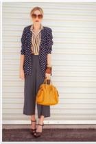 navy thrifted vintage blazer - mustard H&M bag - navy thrifted vintage pants - d