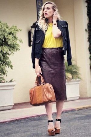 brown vintage skirt - tawny Sole Society bag - yellow Zara t-shirt