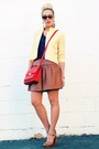 Light-yellow-crossroads-find-jacket-red-banana-republic-bag
