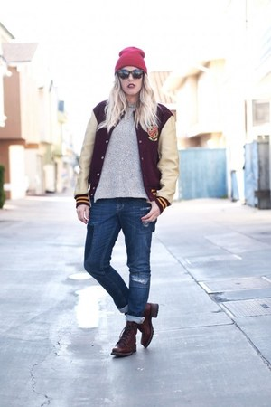 maroon vintage jacket - blue Quiksilver jeans - brick red Target hat