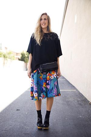 black Nordstrom via Stylefindcom bag - black vintage top - blue vintage skirt -