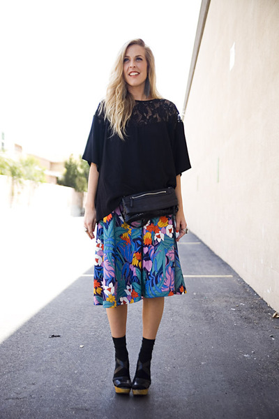 black Nordstrom via Stylefindcom bag - black vintage top - blue vintage skirt -