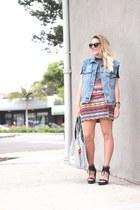 red thrifted skirt - white rachel roy bag - black Sole Society sunglasses