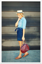 blue Vintage Levis shirt - blue vintage skirt - brown Bass shoes - brown Vintage