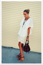 white vintage shirt - white vintage skirt - brown Marino Orlandi bag - brown Ste