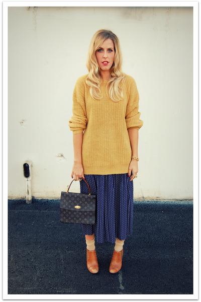 gold vintage sweater - blue vintage skirt - beige Target socks - brown Max Studi