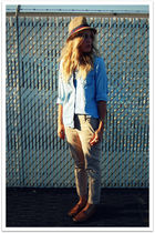 blue vintage shirt - brown banana republic pants - brown Bass shoes - brown Targ