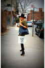 Green-jacket-white-vintage-dress-black-jeffrey-campbell-boots-black-target