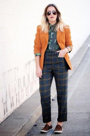 dark brown Target shoes - tawny vintage blazer - dark green thrifted pants