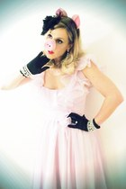 light pink vintage dress - black vintage gloves