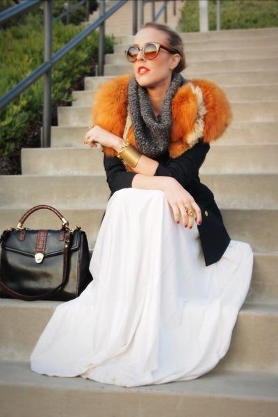 beige vintage skirt - charcoal gray crossroads sweater
