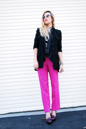 purple Nine West loafers - black vintage blazer - white Forever21 shirt