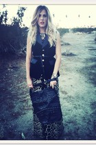 black Aryn K from Crossroads dress - black Cleobella bag - black vintage vest