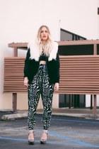 black thrifted top - navy H&M pants - black quail vest