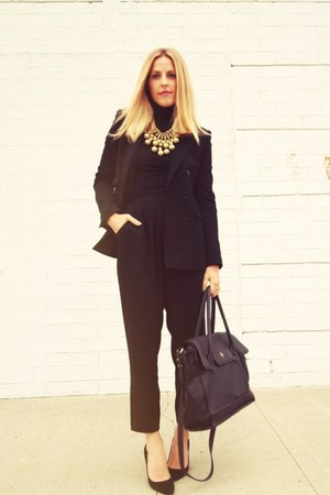 black Theory via Crossroads blazer - black Cole Haan bag - black thrifted pants