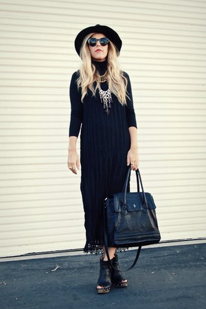 black Jeffrey Campbell boots - black vintage dress - black Target hat