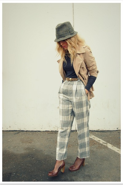 gray vintage hat - gray Forever 21 sweater - beige Target jacket - brown vintage