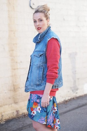 blue thrifted vest - red Hello Apparel sweatshirt - teal vintage skirt