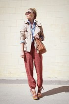 brown Steve Madden sandals - camel Target jacket - coach purse