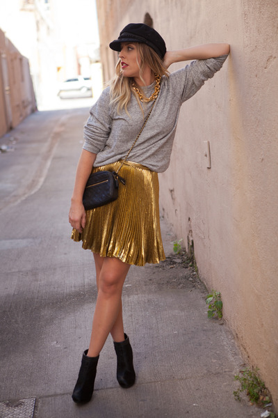 gold thrifted from Crossroads skirt - black tsubo boots
