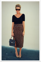 black American Apparel shirt - brown vintage skirt - beige Aldo shoes - brown vi