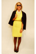 black vintage jacket - yellow Shabby Apple dress