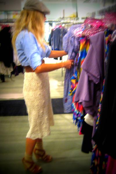 beige vintage skirt - blue J Crew shirt - brown asos belt - brown Steve Madden s