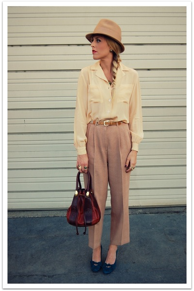 beige vintage blouse - beige thrifted vintage pants - blue thrifted shoes - beig