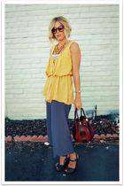 gold Forever 21 shirt - white River Island shirt - blue vintage pants - brown Mi
