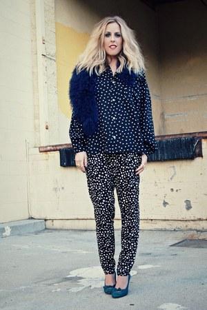 black polka dots thrifted blouse - black polka dots Forever 21 pants