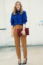 navy thrifted sweater - tawny vintage bag - brown crossroads heels