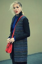 black Judi Rosen coat - blue Nordstrom sweater - red sdgf bag