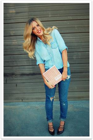 blue vintage shirt - blue Quiksilver Women jeans - brown sam edelman shoes