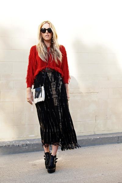 black thrifted vintage skirt - black Jeffrey Campbell boots