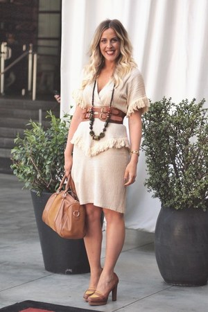 vintage dress - Sole Society bag - asos belt - Nine West loafers