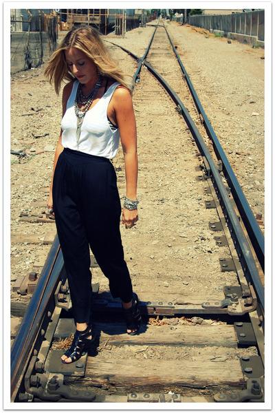 white American Apparel shirt - black vintage pants - black Steve Madden shoes