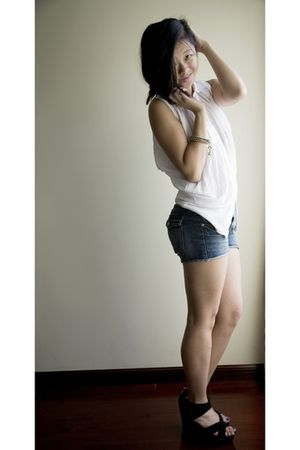 white Local store blouse - blue f21 shorts - black H&M shoes