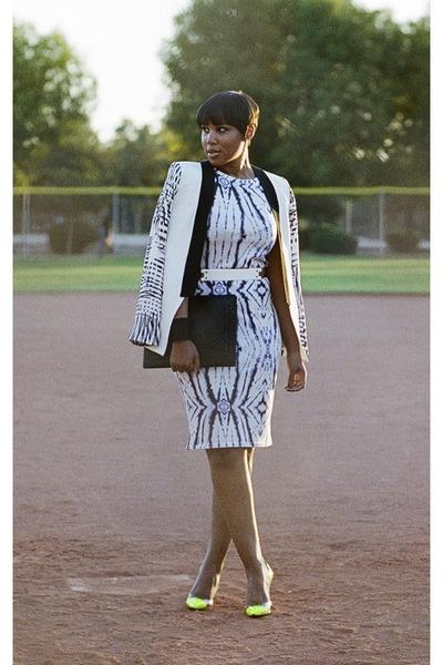blue River Island dress - white Parker blazer - black H&M bag