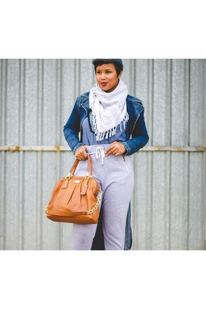 denim Armani Exchange cape - Guess coat - coach purse - tory burch top