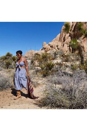 cowboy Steve Madden boots - ecote hat - aztec H&M cape - asos skirt - asos top